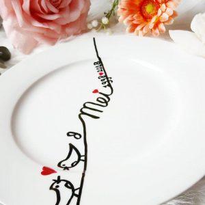 DIY bord low budget persoonlijk cadeau porseleinstift Edding