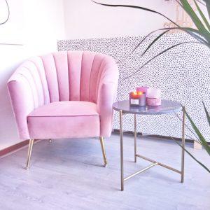 Velvet roze fauteuil