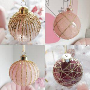 Action kerstballen roze kerst