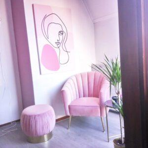 Velvet roze poef richmond interiors